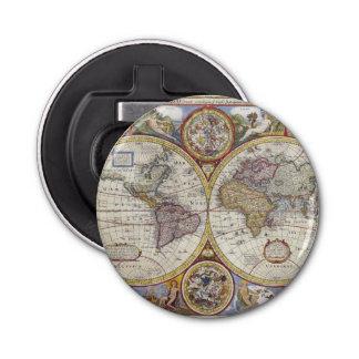 1626年のヴィンテージの世界地図 栓抜き