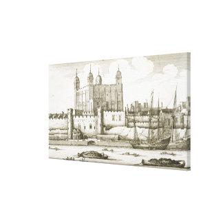 1647年ロンドン塔(版木、銅版、版画) キャンバスプリント