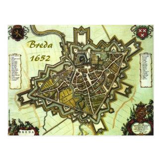 1652年からのブレダ市の地図、 ポストカード