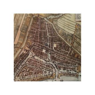 1652年からのロッテルダムのレプリカ都市地図 ウッドウォールアート