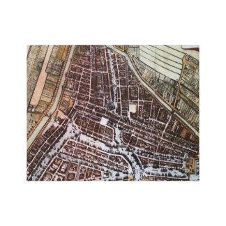 1652年からのロッテルダムのレプリカ都市地図 キャンバスプリント