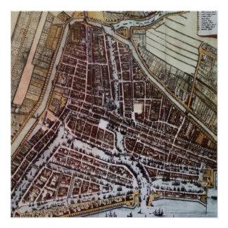 1652年からのロッテルダムのレプリカ都市地図 ポスター