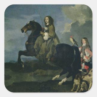 1653年馬上のスウェーデン(1626-89年)のクリスティーナ( スクエアシール