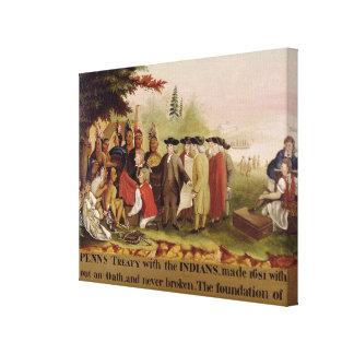 1682年、c.1840にインディアンとのPennの条約 キャンバスプリント