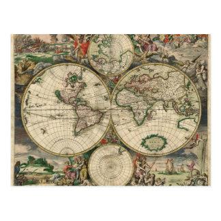 1689年からの世界地図 ポストカード