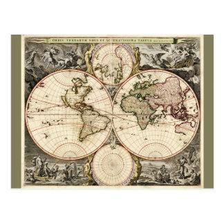 1690年頃Nicolao Visscher著世界地図 ポストカード