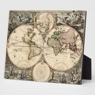1690年頃Nicolao Visscher著旧式な世界地図、 フォトプラーク