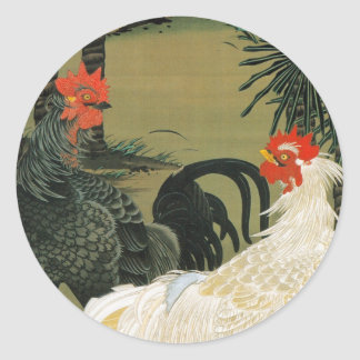 16. 棕櫚雄鶏図、若冲のヤシの木及びオンドリ、Jakuchū ラウンドシール