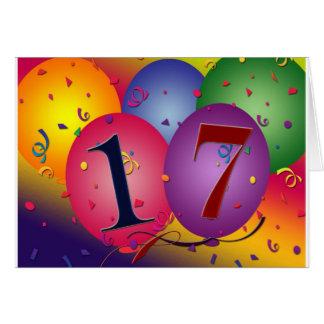 17年!  誕生日の気球 カード