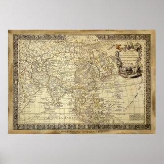 1700年の広告の旧世界の地図の芸術ポスター ポスター
