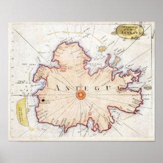 1721年のアンチグアの地図 ポスター