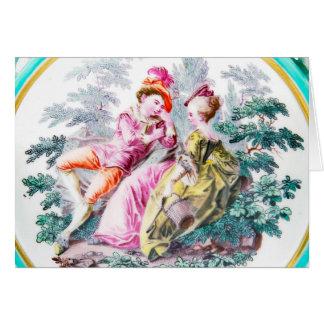 1765年頃金ゴールドのいかりのチェルシー「Whatteauカップル」の カード
