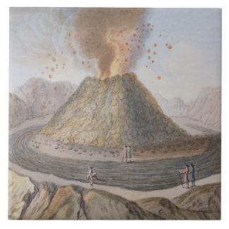 1767年のEの前のVesuviusの円錐形のインテリア タイル