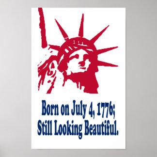 1776の7月4日、プリントで生まれて下さい ポスター