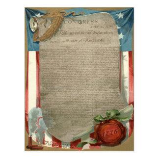 1776年米国の旗の独立宣言 葉書き