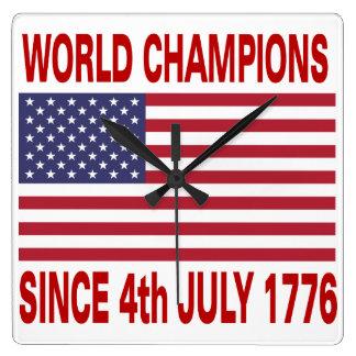 1776年7月4日以来の世界のチャンピオン スクエア壁時計