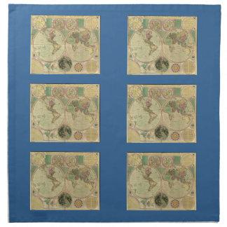 1780年頃Carington Bowles著旧式な世界地図、 ナプキンクロス
