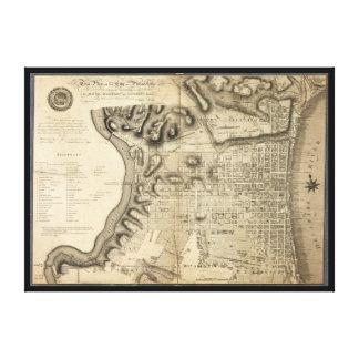 1796年からのフィラデルヒィアペンシルバニアの古い地図 キャンバスプリント