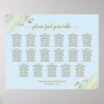 17 Table Powder Blue & Gold Wedding Seating Chart ポスター