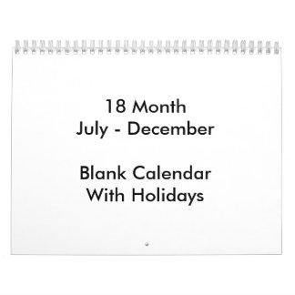 18か月は休日のカレンダーを消します カレンダー