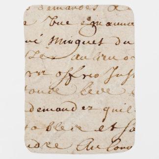 18世紀のヴィンテージのフランスのな原稿のグランジな硫酸紙 ベビー ブランケット