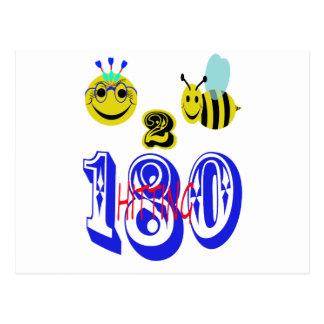 180に当っている幸せな2蜂 ポストカード