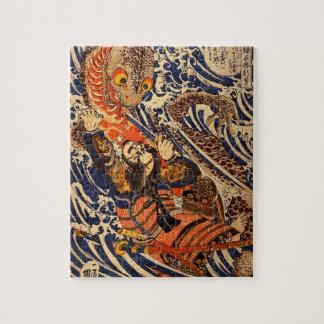 1800's頃大きいハ虫類を、戦っている武士 ジグソーパズル