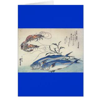 1800's頃日本のな海洋生物の絵画 カード