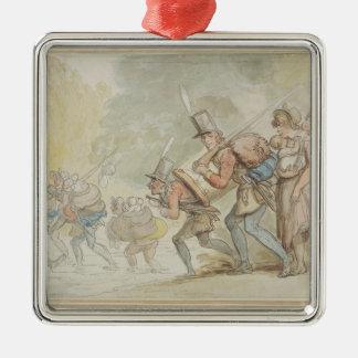 1805年3月の兵士(ペン及びインクおよびwatercolo メタルオーナメント