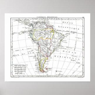 1806地図- L'Amérique Méridionale ポスター