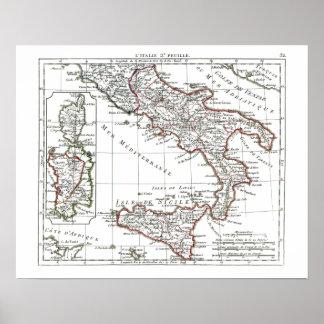 1806地図- L'Italie 2e Feuille ポスター