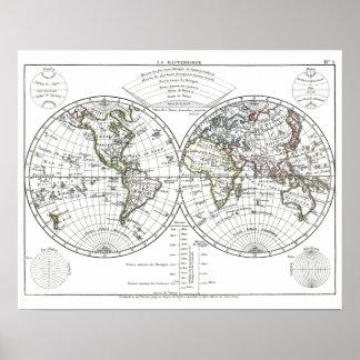 1806年の地図書の地図: Eustache Hérisson著La Mappemonde ポスター