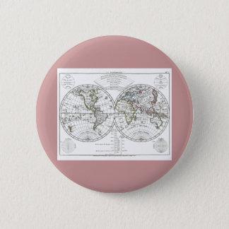 1806年の地図書の地図: Eustache Hérisson著La Mappemonde 5.7cm 丸型バッジ