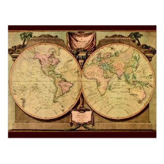 1808人の大尉Cook's二重半球の世界地図 葉書き