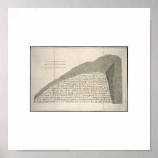 1810年のロゼッタ石のHeiroglyphsの写真 ポスター