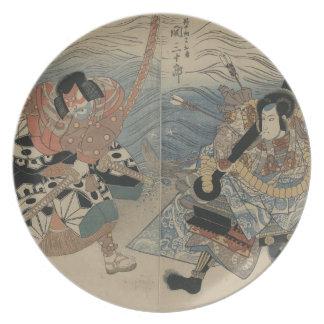 1815年頃大きい剣そしていかりを持つ武士 プレート