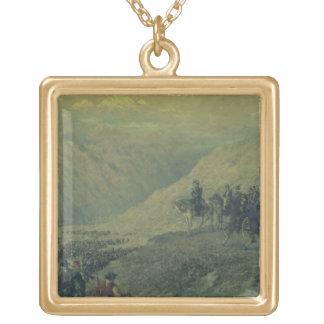 1817年にアンデスの道(キャンバスの油) ゴールドプレートネックレス