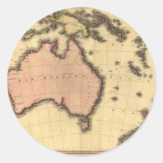 1818年オーストラレーシアの地図-オーストラリア、ニュージーランドの ラウンドシール