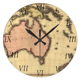 1818年オーストラレーシアの地図-オーストラリア、ニュージーランドの ラージ壁時計