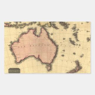 1818年オーストラレーシアの地図-オーストラリア、ニュージーランドの 長方形シール