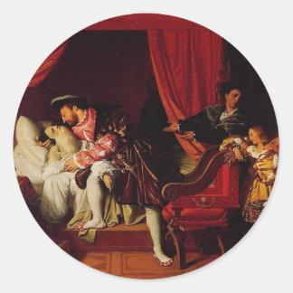 1818年頃Ingres著レオナルド・ダ・ヴィンチの死 ラウンドシール