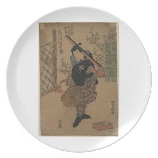 1825年の日本頃武士 プレート