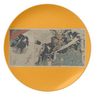 1825年頃トーチを持つヴィンテージの武士 プレート