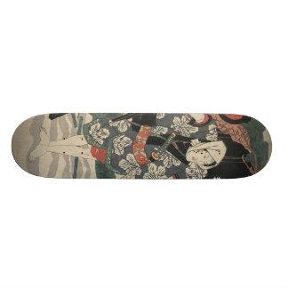 1825年頃日本の雪の武士 スケートボード