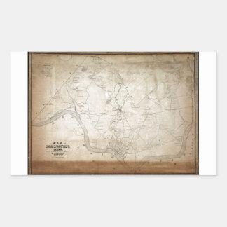 1846年にMethuenマサチューセッツの地図 長方形シール