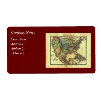 1848年のThunot Duvotenayの地図:  Etats-Unis及びMexique ラベル