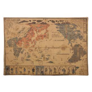 1850年のBankokuのjinbutsu多くの国家のzuの人々無し ランチョンマット