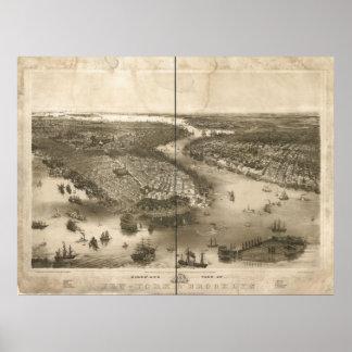 1851年のニューヨーク及びブルックリンの鳥の目のパノラマ式の地図 ポスター