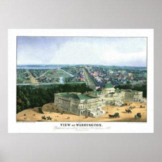 1852多色石版-ワシントン州の眺め ポスター