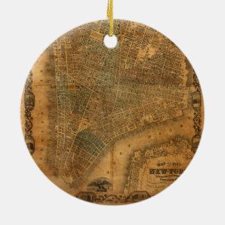 1852年にニューヨークシティの古い地図 セラミックオーナメント
